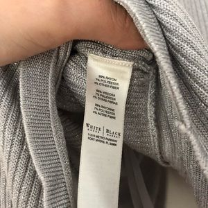 White House Black Market Sweaters - WHBM Silver Shiny Cardigan Sweater Sparkly